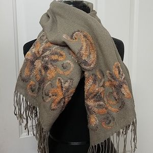Coldwater Creek Art Scarf Textured Floral brown